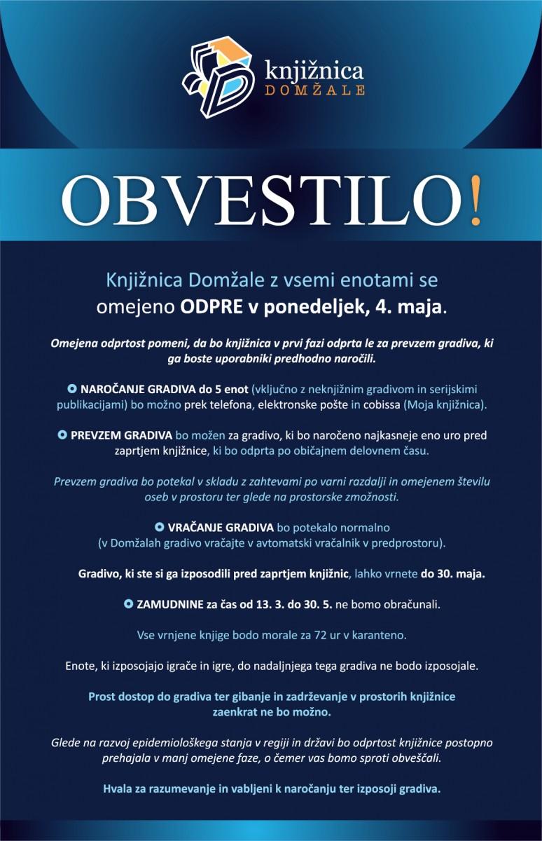 Obvestilo o ponovnem odprtju Knjižnice Domžale in vseh njenih enot